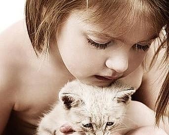 Котенок и ребёнок.